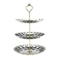 Ainsley Stainless Steel Cake Tier, Kitchen + Bar, BEL EPOQ Metal Cake Stand, 3 Tier Cake Stand, Tiered Cakes, High Tea, Centerpieces, Stainless Steel, Vintage, Kitchen, Design