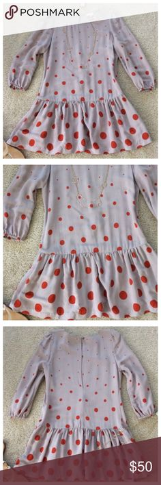 """{Anthropologie} Minutiae Dropwaist Dress {Anthropologie} Minutiae Dropwaist Dress by Meadow Rue. Super cute taupe color with orange polka dots. 3/4 sleeves. Hidden side pockets. Pullover styling. Laying flat approx 32.5"""" long, approx 18"""" pit to pit. 100% rayon. Size 4. Excellent condition. #675 Anthropologie Dresses"""