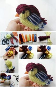 How to Make a Cute Yarn Bird. you can easily make a cage for it with plastic canvas if you like.Homely bird hangs nearby.complete tutorial.