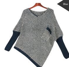 Korean Style Women's Pocket Unbalanced Knit sweater.
