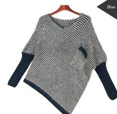 Korean Style Women's Pocket Unbalanced Knit sweater. $34.95.