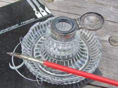 Vintage Inkwell Glass Inkwell with Metal Lid Clear by OLaLaVintage