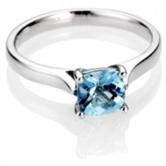 Cushion Cut Aquamarine Diamond Engagement Ring - Our favorite color on any shape of a gemstone comes this effervescent 18k White Gold Solitaire Cushion Cut Aquamarine Diamond Engagement Ring placed within a 4 Prong & Solitaire setting featuring a lovely Blue Aquamarine Cushion cut center stone. This Cushion Cut Aquamarine engagement ring's total gem weight is equal to 1.25 carats & the diamonds are 100% natural, not enhanced or heat-treated. #unusualengagementrings