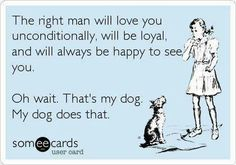 Free and Funny Confession Ecard: The right man will love you unconditionally, will be loyal, and will always be happy to see you. Oh wait. Create and send your own custom Confession ecard. Someecards, I Love Dogs, Puppy Love, Funny Shit, The Funny, Hilarious Memes, Funny Humor, Love You Unconditionally, The Right Man