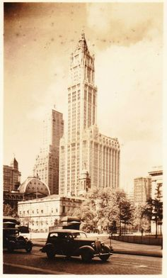 The Woolworth Building, New York City: part of a set of miniature photographs, c. 1930s...