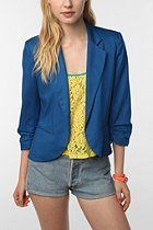 Sparkle & Fade Cropped Ruched Sleeve Blazer  #UrbanOutfitters