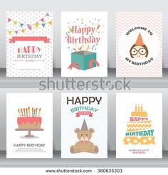 happy birthday, holiday, christmas greeting and invitation card.  there are typography,  baby girl, gift boxes, confetti, cake and teddy bear. layout template in A4 size. vector illustration