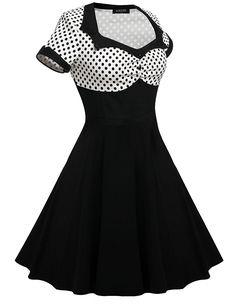 ACEVOG Women's Short Sleeve Polka Dots Cotton Vintage Tea Dress (Multi-Colored)
