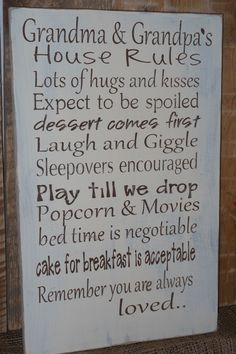 Grandma and Grandpa's House Rules Wood Sign by gracierayscrafts, $34.95