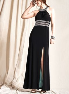 Long Beaded neckline Jersey Gown. Black Dress.