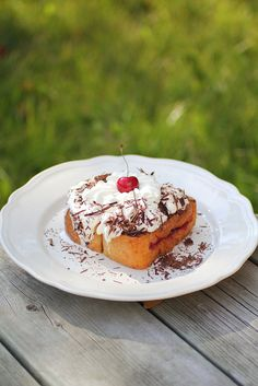 """What you give away you keep."": Black Forest Cherry stuffed French Toast"