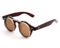 Amazon | 【J's select】ビンテージ レトロ アンティーク サングラス マルメガネ 眼鏡 スチームパンク (ブラウン) | コスプレ・仮装 通販