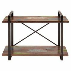 """Industrial-inspired wood and metal console table with 2 tiers and a distressed finish.  Product: Console tableConstruction Material: Wood and metalColor: Distressed brown  Features: Two tiers Dimensions: 32"""" H x 47"""" W x 17"""" D"""
