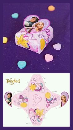 Put a sweet treat or a small gift in this candy box, and give it to your Valentine. Rapunzel Birthday Party, Frozen Birthday Theme, Tangled Party, Paper Box Template, Origami Templates, Box Templates, Disney Diy, Disney Crafts, Cadeau Baby Shower