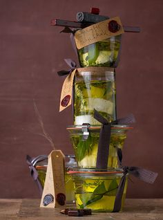 marinated cheeses in oil and herbs, canned in weck canning jars...great little house warming gifts