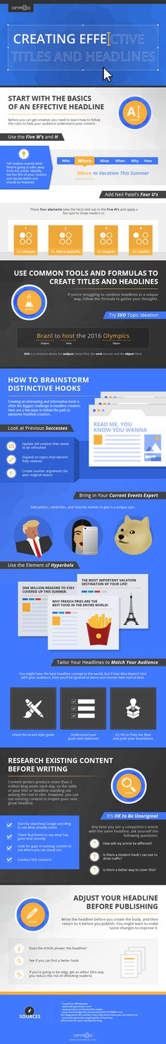 An infographic with 5 solid steps to creating effective headlines that encourage search and social users to click-through and read your content.