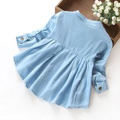 Nova Primavera 2016 Meninas blusas & Camisas jeans Baby Girl Roupas Casuais Tecido Macio Crianças Roupas infantis meninas Camisa blusa