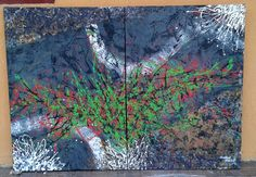 Tablou abstract acril pe panza, 70x100 in 2 piese