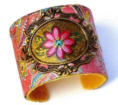Pink Boho Cuff Bracelet Painted Flower Bohemian Hippie Jewelry
