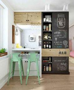 Smart Small Apartment Kitchen Decor Ideas - Page 10 of 66 Retro Apartment, Small Apartment Kitchen, Apartment Interior Design, Diy Interior, Kitchen Interior, Apartment Decorating For Couples, Couples Apartment, Small Bars For Home, Chalkboard Decor
