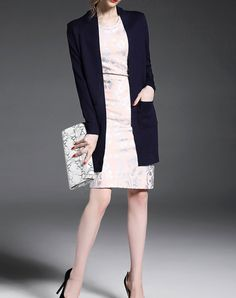 #AdoreWe #VIPme Sweaters & Cardigans - YEARNSANE Cute Purplish Blue Long Sleeve Knitted Cardigan - AdoreWe.com