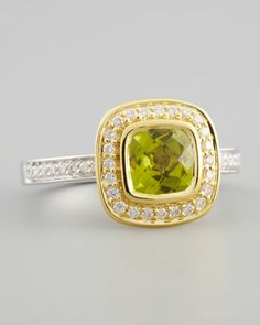 18k Yellow Gold Pave Diamond Peridot Ring by Frederic Sage at Neiman Marcus.