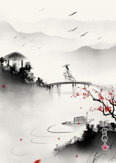 Japanese Drawings, Japanese Artwork, Japanese Painting, Chinese Landscape Painting, Landscape Paintings, Japon Illustration, Samurai Art, Zen Art, Japan Art