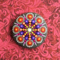 Jewel Drop Mandala Painted Stone fireflies by ElspethMcLean