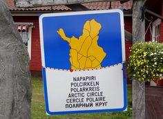 Arctic Circle sign in Juoksenki Village in Pello in Lapland
