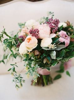 This bouquet is deliciously beautiful: http://www.stylemepretty.com/2015/08/07/romantic-elegant-outdoor-garden-wedding/ | Photography: Lauren Gabrielle - http://laurengabrielle.com/