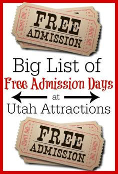 Lots of places have free admission days and we have the big list of them all! Mark your calendars for these fun free admission days in Utah!