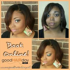 Full Sew In! Make up Application! Relaxed Styles, Natural Styles, Keratin Treatments, Custom Color, Precision Cuts Book online!  www.goodhairday.net