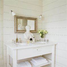 Cottage Bathroom White wood paneling in bathroom! Love the minimalism of this space: White sink vanity with shelf, antique white washed wood framed mirror, white washed paneled walls and Greek bust! White Wood Wall Panels, White Wall Paneling, Painting Wood Paneling, Wood Plank Walls, Planked Walls, Paneling Walls, Cedar Walls, Paneling Ideas, Panelling