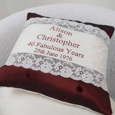 Personalised Ruby Wedding Cushion by Tuppenny House Designs, the perfect gift for Explore more unique gifts in our curated marketplace. Ruby Wedding Anniversary, Anniversary Gifts For Couples, Personalised Cushions, 40 And Fabulous, New Baby Gifts, Wedding Accessories, Personalized Gifts, Red Silk, Etsy