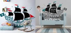 [PIRATE BOAT WALL DECAL] Available right now on http://www.e-glue.fr/en/27-kids-wall-decals-single-xxl ⚓ -> sizes 170x115 cm - with blackboard drawing parts - choice of colors among a wide chart - 115 euros (Sebra Kili Cot & Junior Bed from Nubie) by E-GLUE studio for kids