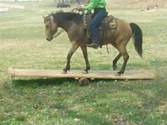A rocking bridge trail horse obstacle at Bridlewood Equestrian Oklahoma Trail Horse Challenge