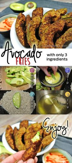 Keto, paleo and gluten-free! These low carb avocado fries can be baked or fried and dipped in a spicy mayo sauce for a kick! For the full recipe, check out www.tasteaholics.com!