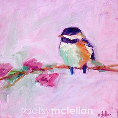 Chickadee Original Painting 8x8 by betsymclellanstudio on Etsy, $40.00