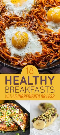 18 Healthy Breakfasts With Five Ingredients Or Less - Healthy Breakfast Recipes Healthy Breakfast Options, Healthy Snacks, Healthy Eating, Healthy Breakfasts, Healthy Recipes, Healthiest Breakfast, Granola, Brunch Dishes, Homemade Breakfast
