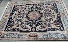 Vintage Fine Persian Wool 8x10 Carpet Black Field Aubosson Border Oriental Rug #Persian