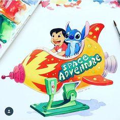Lilo And Stitch 3, Lilo And Stitch Tattoo, Disney Stitch, Disney Love, Disney Art, Nemo, Daisy, Disney Paintings, Cute Disney Drawings