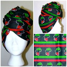 Black Red and Green Africa Print Headwrap  #africanprint #africa #panafrican #headwrap #mamaafrica #naturalista