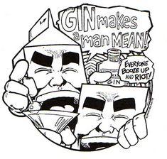 """Milk & Cheese comics by Evan Dorkin.  """"Gin makes a man mean!"""" Or a Kymm."""