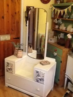 Pretty Vintage Dressing Table painted in wash day white with French decoupage detail on the drawers x