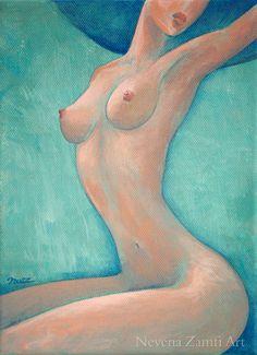 Erotic art Original painting on canvas Blue Hat Woman Fashion Elegant Sexy Sensual Curvy Figurative Wall Art Home decor Nude Unique OOAK by ScentOfArt on Etsy