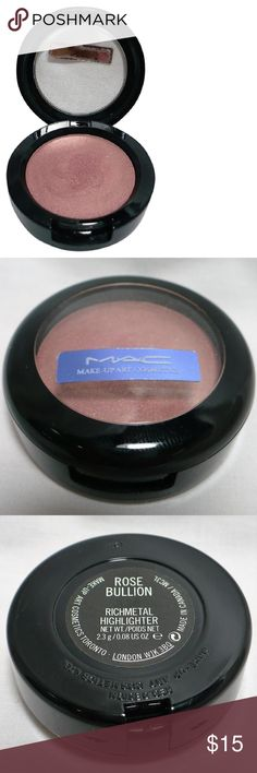 """MAC ROSE BULLION Highlighter Brushed Metal-X E/S All """"Gently Used"""" cosmetics have been sanitized with IPA (isopropyl alcohol) prep swabs and/or sprayed with 99% IPA per makeup artist standards. MAC Cosmetics Makeup Eyeshadow"""