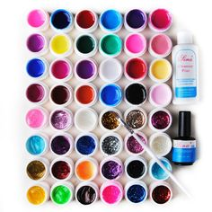 Fashion Zone Full Nail Art Kit 48 Color Pure Transport Glitter UV Gel Cleanser Plus Top Coat Brush ** You can get more details by clicking on the image.