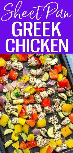 These Sheet Pan Greek Chicken Meal Prep Bowls are a low carb lunch idea with a lemon-oregano marinade, and they're ready in 30 minutes! #sheetpan #greekchicken Lunch Meal Prep, Meal Prep Bowls, Easy Meal Prep, Easy Meals, Good Healthy Recipes, Whole Food Recipes, Dinner Recipes, Dinner Ideas, Healthy Meals