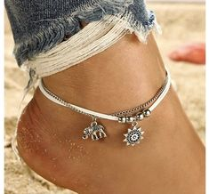 2019 Fine Sexy Anklet Bracelet Cheville Barefoot Sandals Foot Jewelry Leg Chain On Foot Pulsera For Women Beach Summer Bow Jewelry, Anklet Jewelry, Cute Jewelry, Jewellery, Leather Jewelry, Foot Bracelet, Anklet Bracelet, Elephant Anklet, Boho Chic