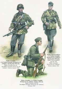 Izquierda: Granadero, 14º División de Granaderos SS ''Galizien''; Ucrania, verano de 1944 Derecha: SS Untersturmfürer (Subteniente), 14º División de Granaderos SS ''Galizien''; Ucrania, verano de 1944 Abajo: Granadero, 14º División de Granaderos SS ''Galizien''; Alemania, 1944 Osprey Military, Military Art, Ww2 Uniforms, German Uniforms, Luftwaffe, Eastern Front Ww2, German Army, D Day, Armed Forces